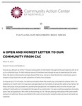 A Open and Honest Letter to Our Community from the Community Action Center