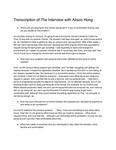 Alison Hong Interview (Transcription)