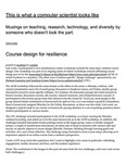 Course design for resilience