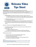 Welcome Video Tips Sheet