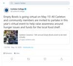 Empty Bowls 2020: Carleton College Tweet
