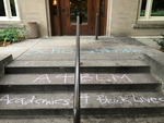 Academics for BLM on steps of Old Music Hall by Kristin Bloomer